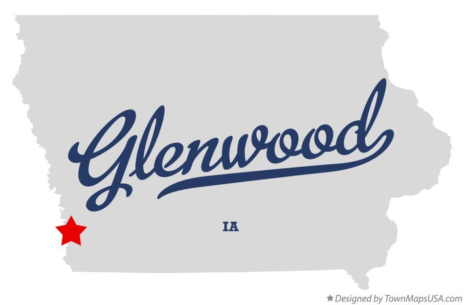 Map Of Glenwood Mills County Ia Iowa