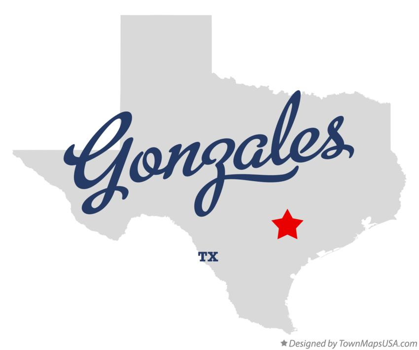 Map of Gonzales Texas TX