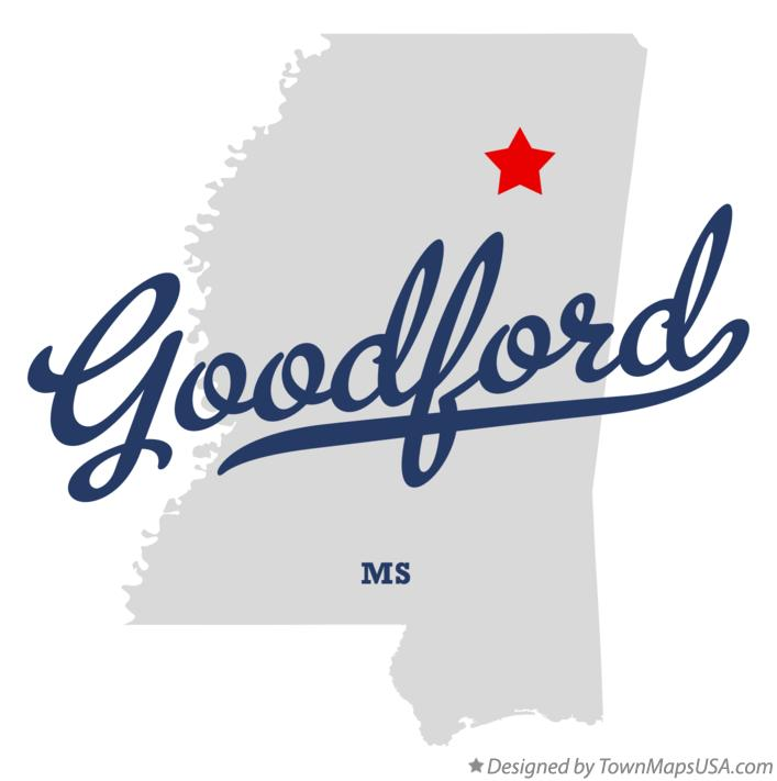 Map of Goodford Mississippi MS