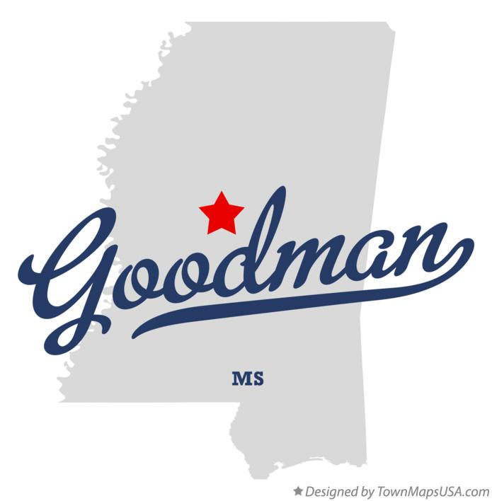 Map of Goodman Mississippi MS