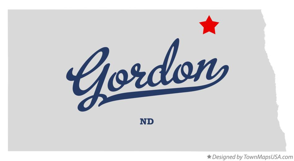 Map of Gordon North Dakota ND