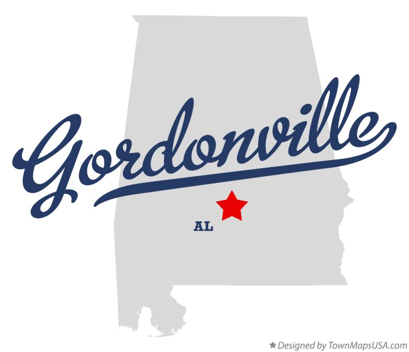 Map of Gordonville Alabama AL