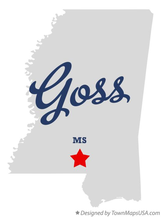 Map of Goss Mississippi MS