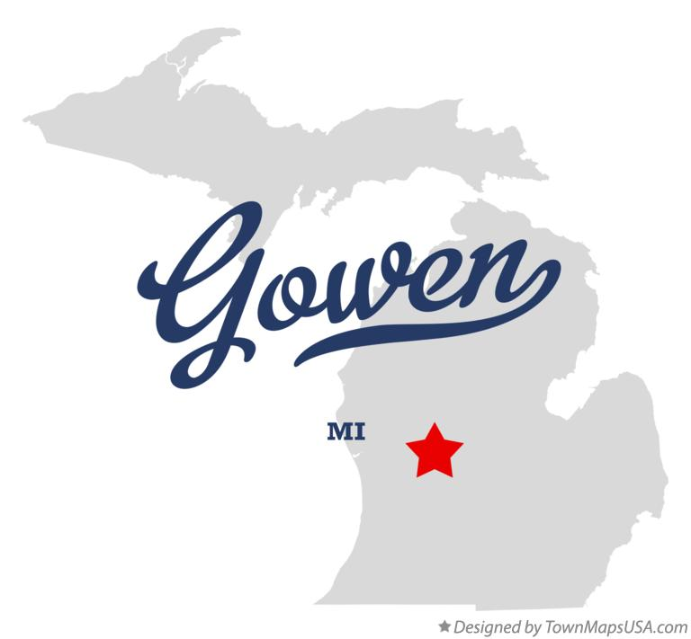 Map of Gowen Michigan MI