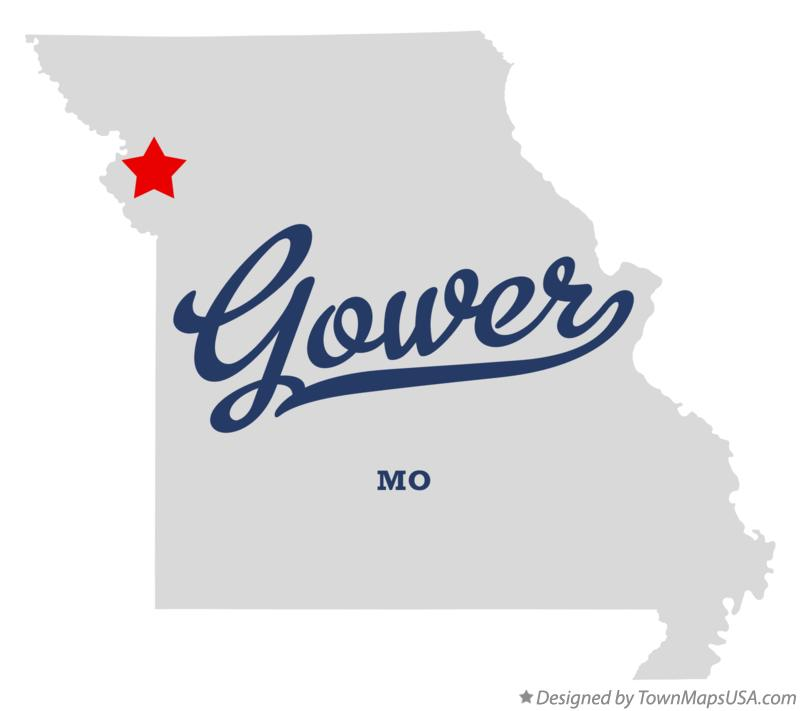 Map of Gower Missouri MO