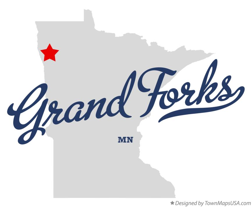 Map of Grand Forks Minnesota MN