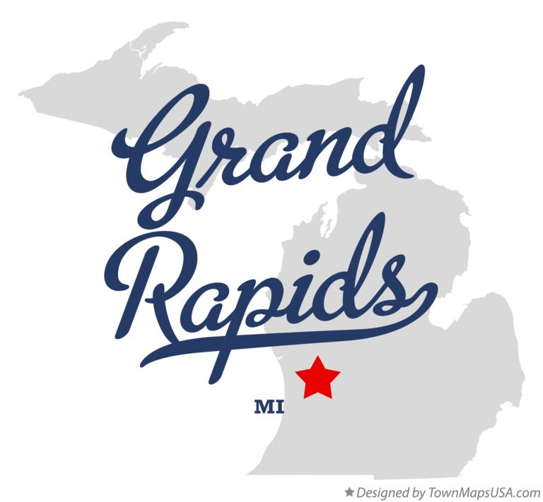 Map of Grand Rapids, Kent County, MI, Michigan