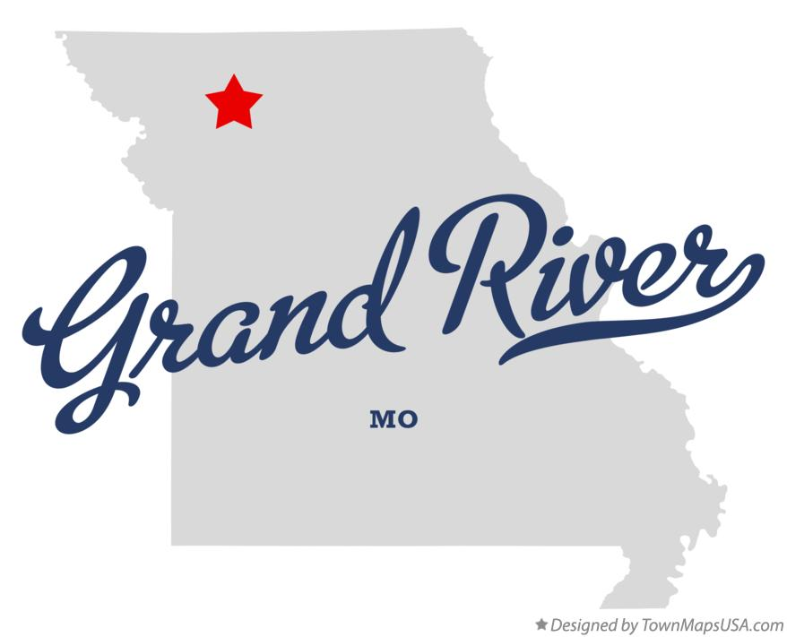 Map of Grand River Missouri MO