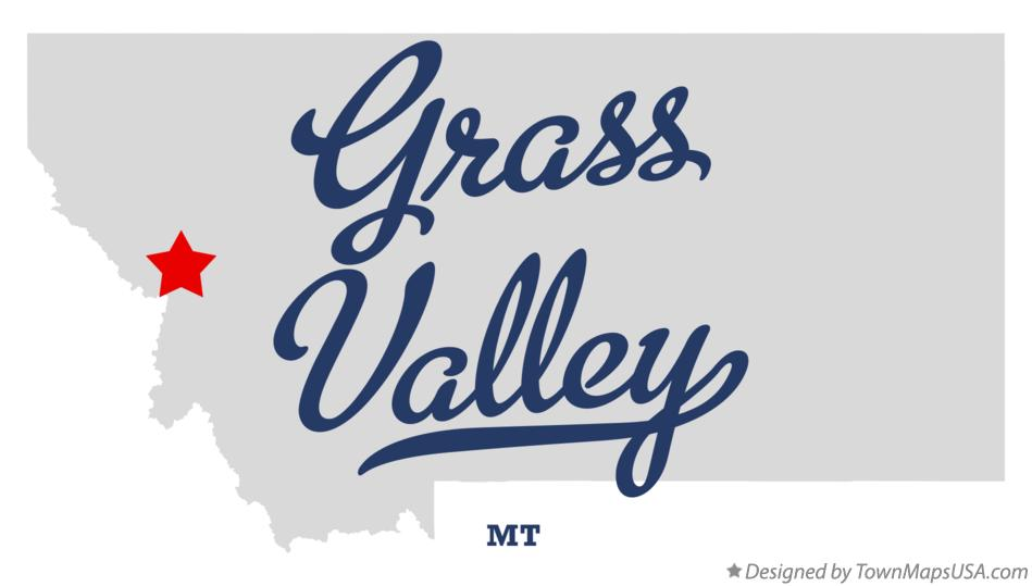 Map of Grass Valley Montana MT