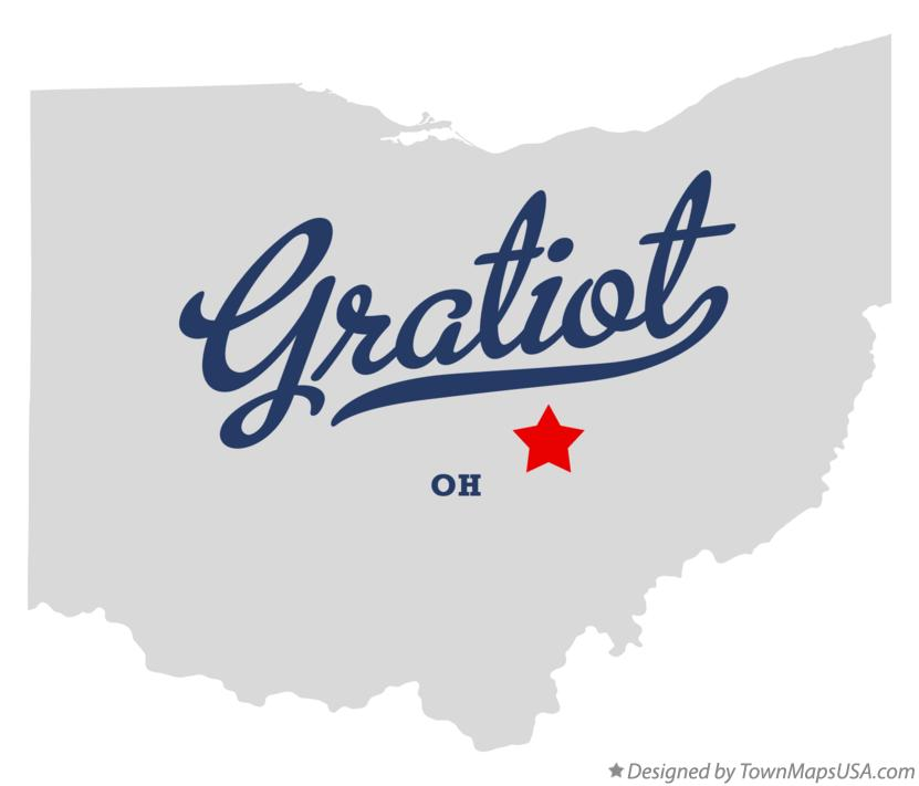 Map of Gratiot Ohio OH