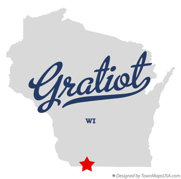 Map of Gratiot Wisconsin WI