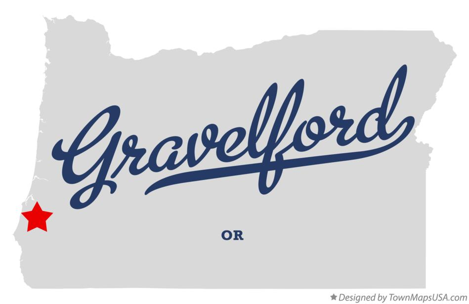 Map of Gravelford Oregon OR