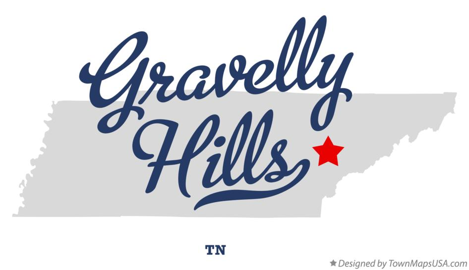 Map of Gravelly Hills Tennessee TN