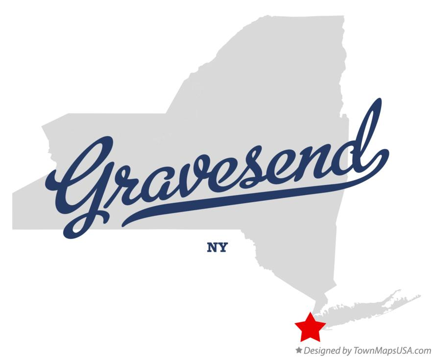 Map of Gravesend New York NY