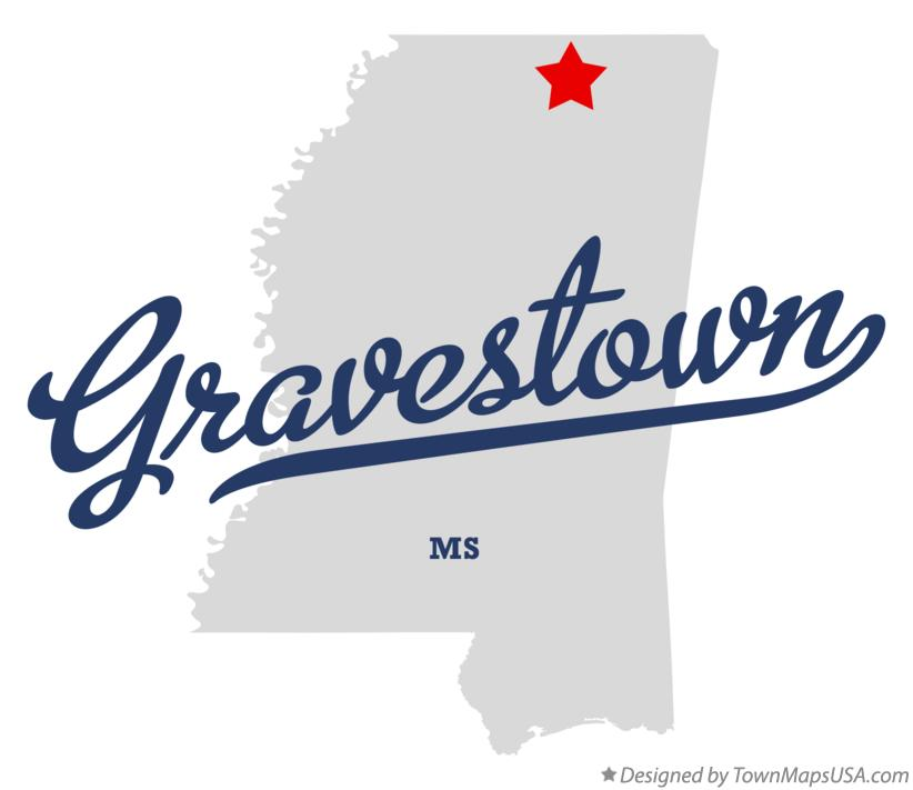 Map of Gravestown Mississippi MS