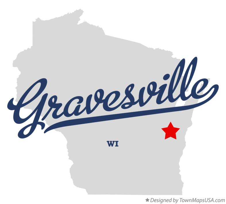 Map of Gravesville Wisconsin WI
