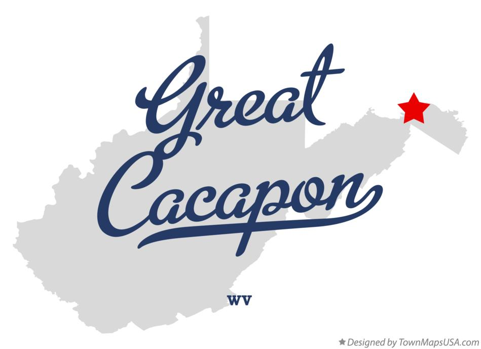 Map of Great Cacapon West Virginia WV