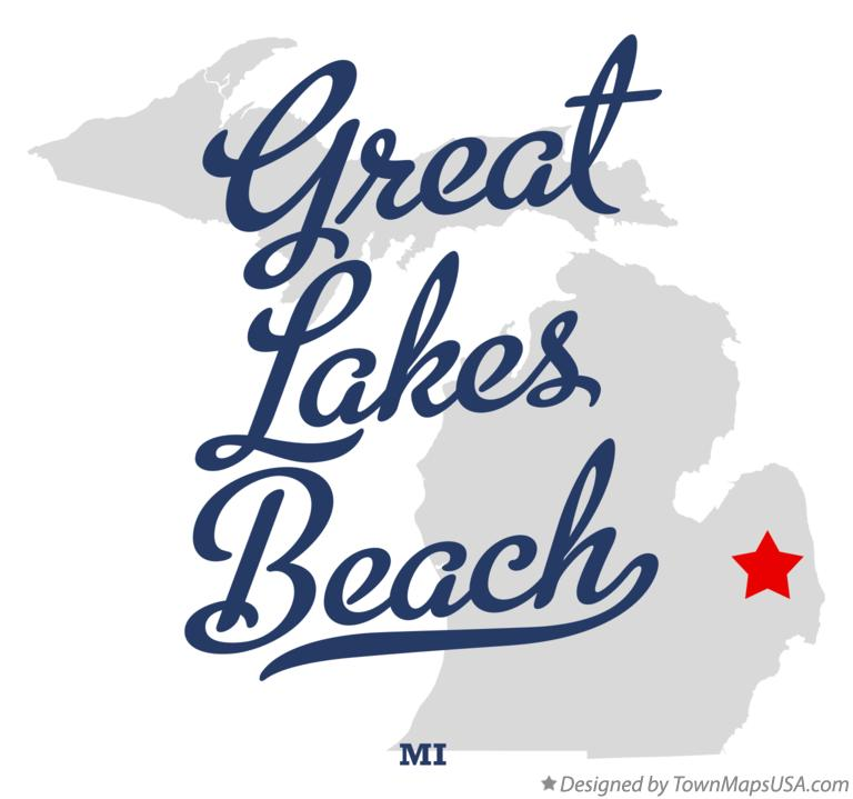 Map of Great Lakes Beach Michigan MI