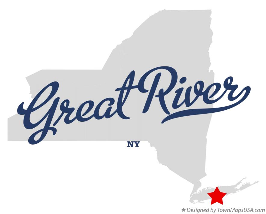 Map of Great River New York NY