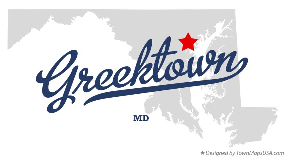 Map of Greektown Maryland MD