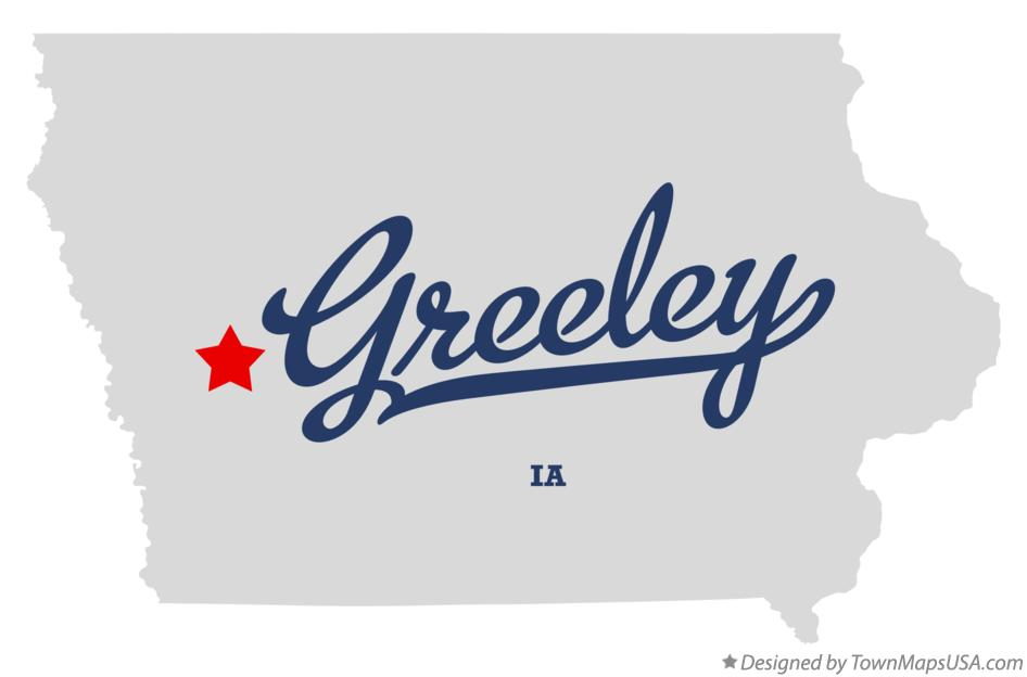 Map of Greeley Iowa IA