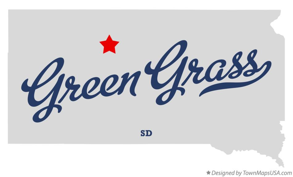 Map of Green Grass South Dakota SD