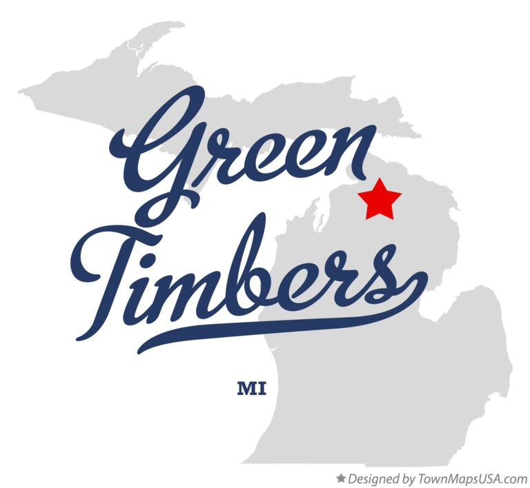 Map of Green Timbers Michigan MI
