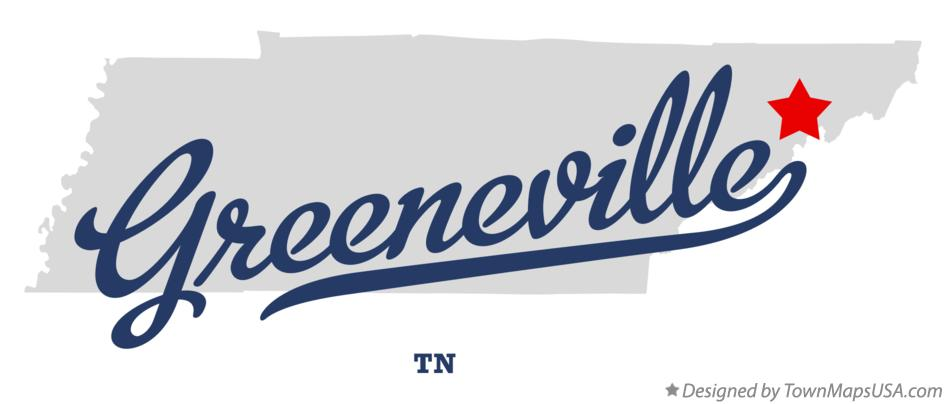 Map of Greeneville, TN, Tennessee