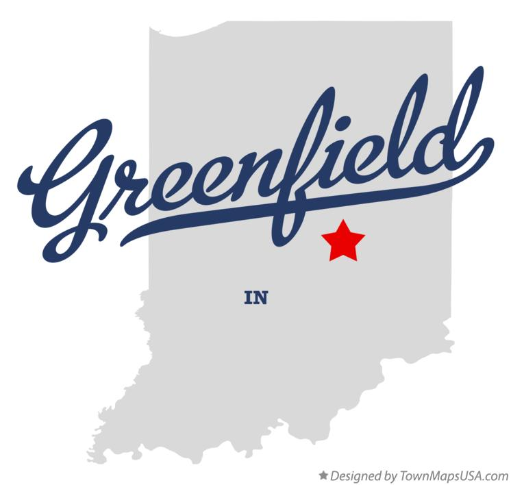 Map of Greenfield, Hancock County, IN, Indiana