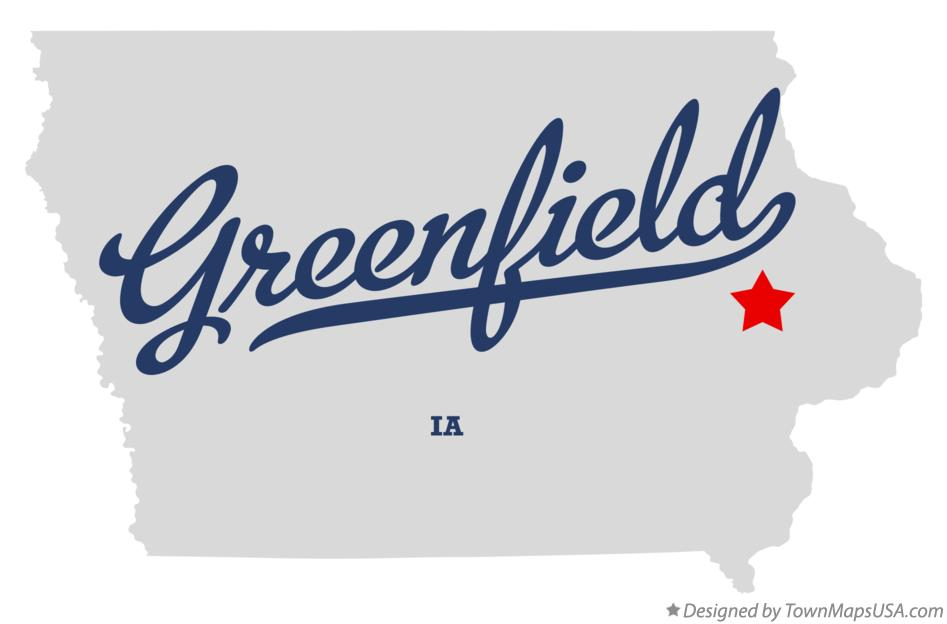 Map of Greenfield Iowa IA