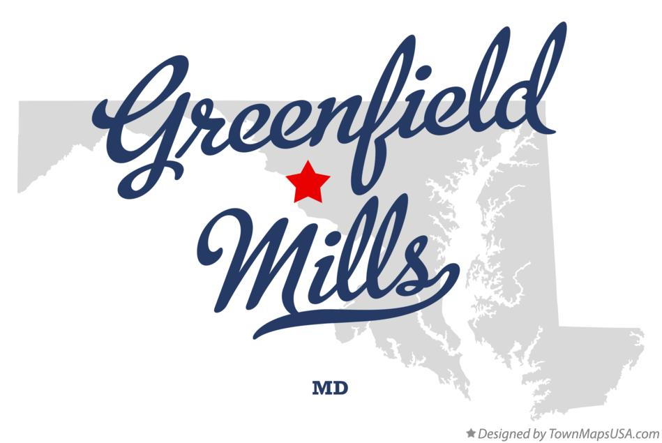 Map of Greenfield Mills Maryland MD