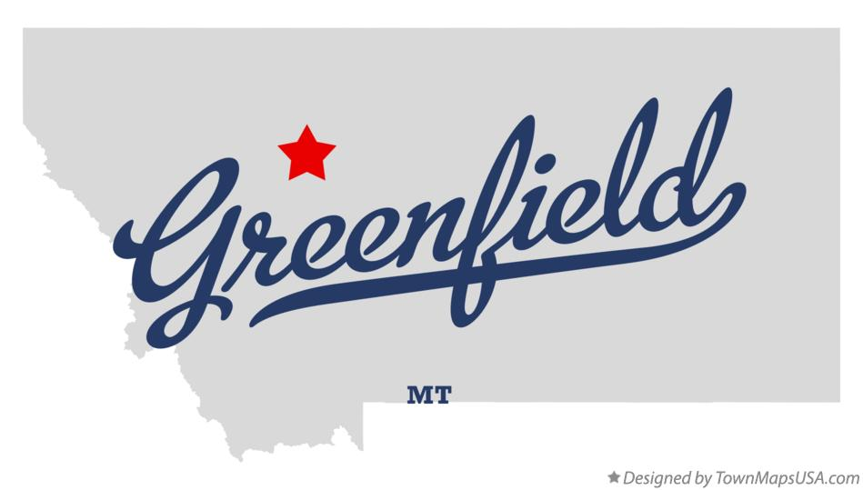 Map of Greenfield Montana MT