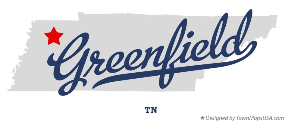 Map of Greenfield Tennessee TN