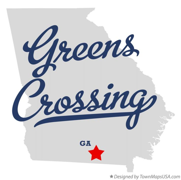Map of Greens Crossing Georgia GA