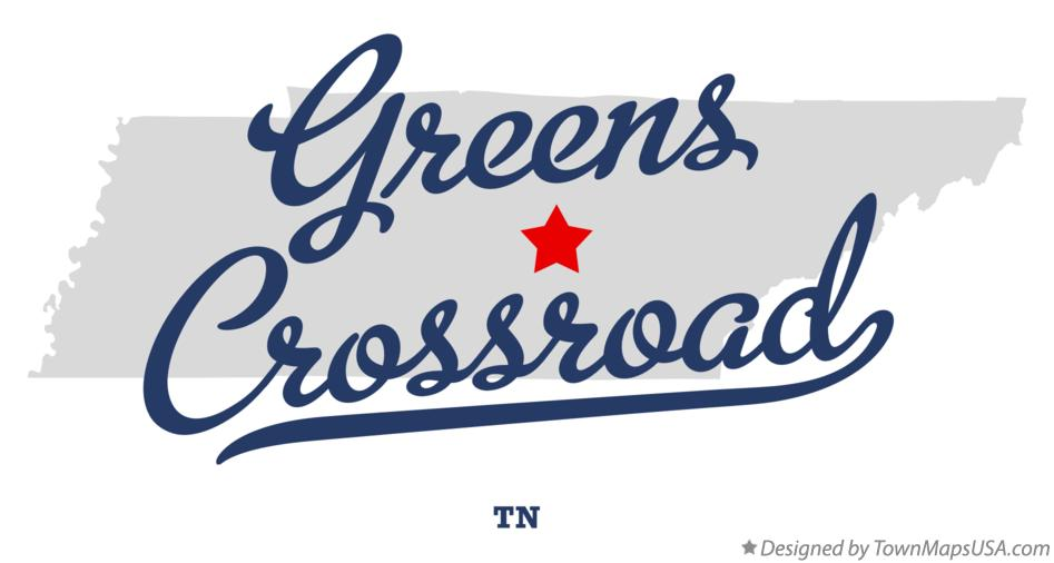 Map of Greens Crossroad Tennessee TN