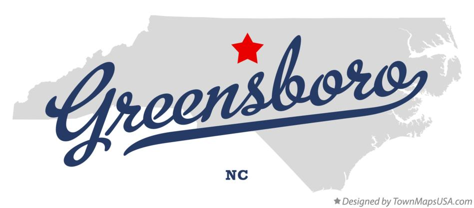 Map of Greensboro NC North Carolina