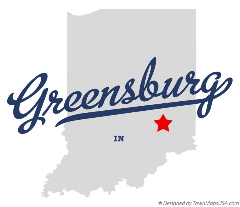 Map of Greensburg Indiana IN
