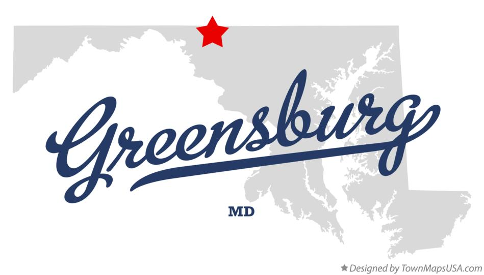 Map of Greensburg Maryland MD