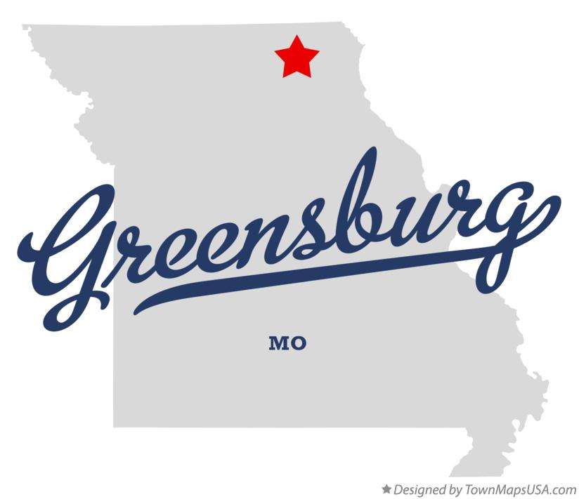 Map of Greensburg Missouri MO