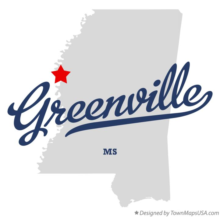 Map of Greenville Mississippi MS