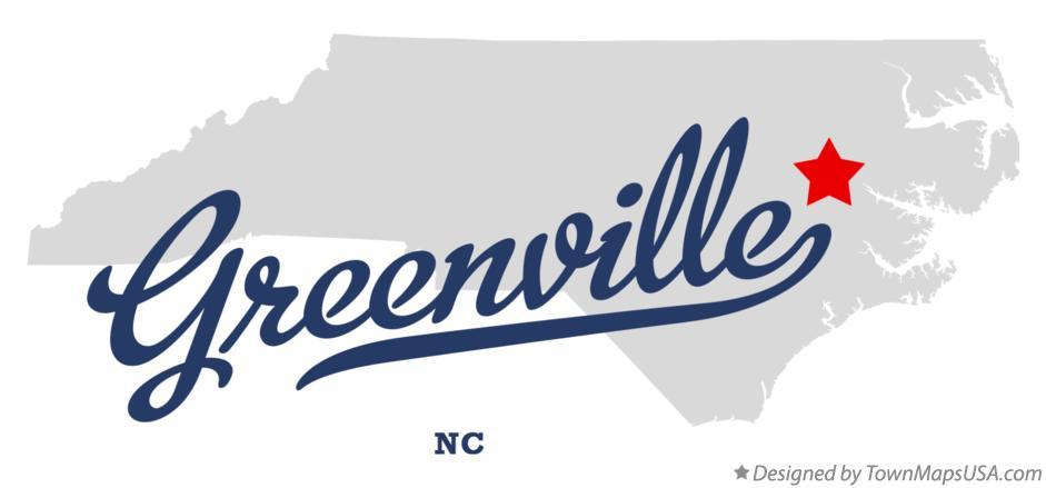 map of greenville nc north carolina