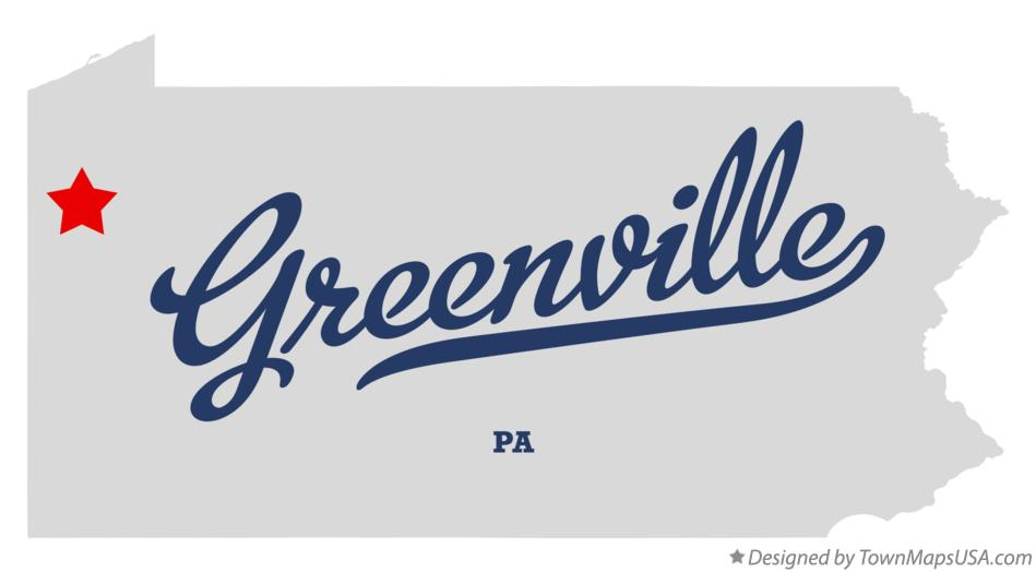 Map of Greenville Pennsylvania PA