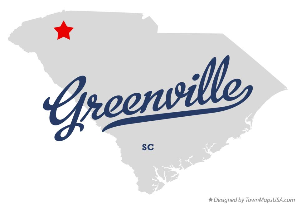Map of Greenville South Carolina SC