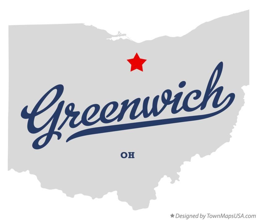 Map of Greenwich Ohio OH