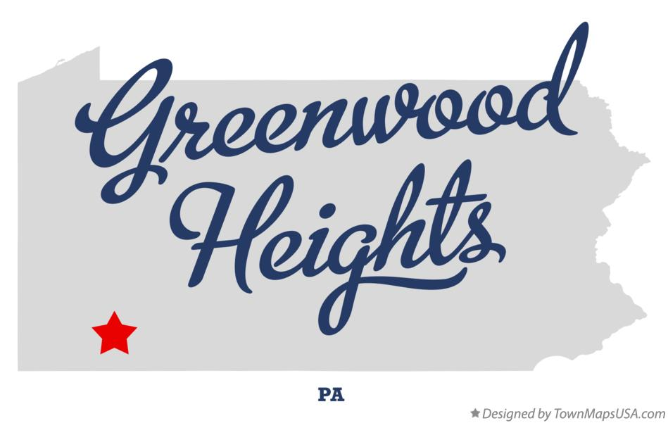 Map of Greenwood Heights Pennsylvania PA