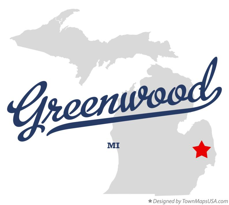 Map of Greenwood Michigan MI