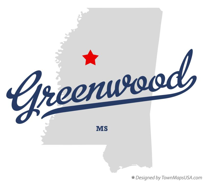 Map of Greenwood Mississippi MS