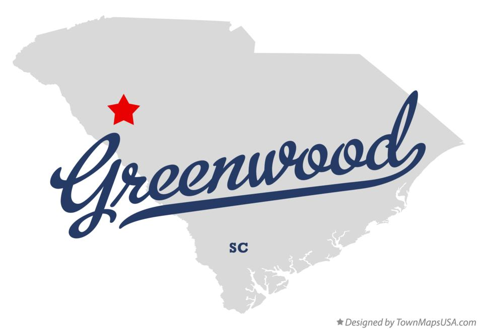 Map of Greenwood South Carolina SC