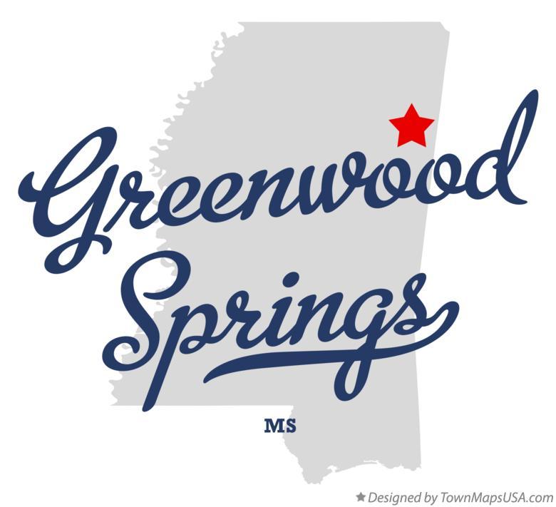 Map of Greenwood Springs Mississippi MS