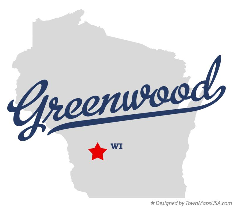 Map of Greenwood Wisconsin WI